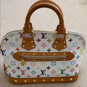 Louis Vuitton White Multicolor Alma PM Bag